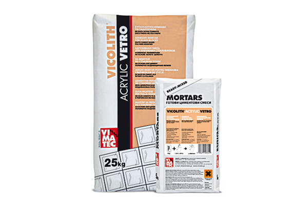 bonding mortar-adhesive mortar for glass blocks-resin improved-based on white cement-grouting-joints-vicolith acrylic vetro