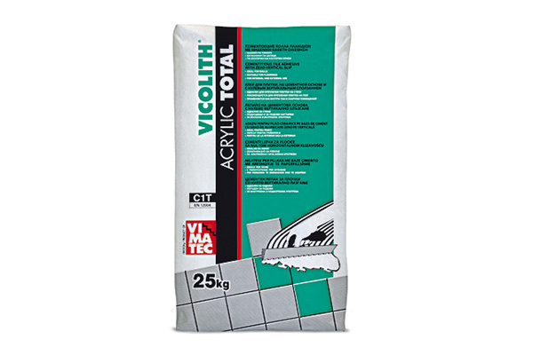 tile adhesive- installation system C1T-resin improved- high temperature and frost resistant- no vertical slip- indoor and outdoor use- based on grey cement-vicolith acrylic total grey