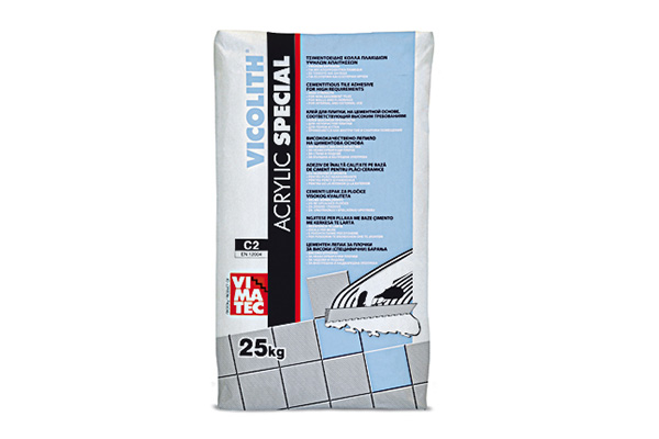 tile adhesive-installation system for marbles granites-C2- reinforced resin improved-high strength- high temperature and frost resistance- indoor and outdoor- vicolith acrylic special white