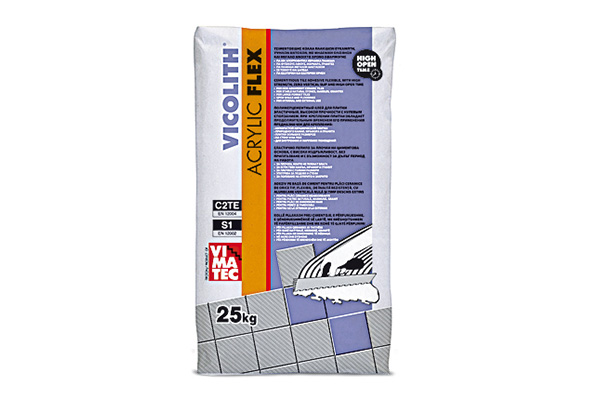 tile adhesive- installation system for marbles granites- C2TE S1- flexible- resin improved-high strength- no vertical slip- high open time- indoor and outdoor use- vicolith acrylic flex white