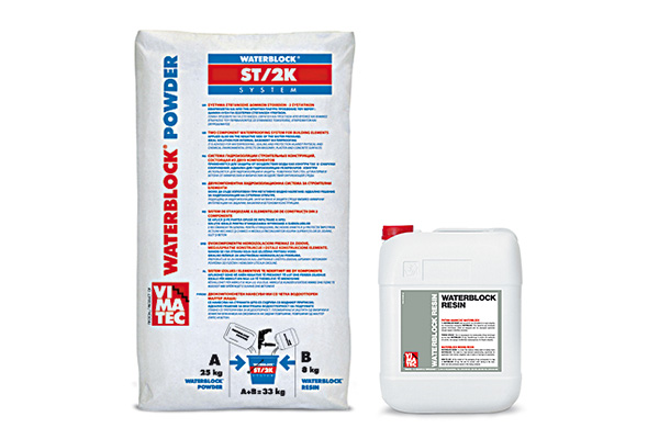 waterproofing materials-two-component waterproofing mortar-brushable-powder & mixing resin-waterproofing membrane-high adhesion-ideal for internal waterproofing of basements-grey & white-Waterblock ST2K System