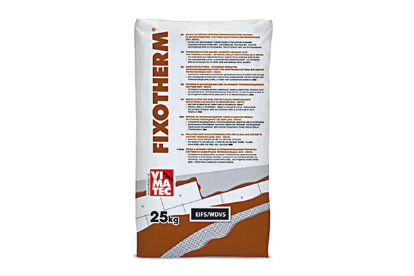 ETICS-WDVS-bonding mortar-adhesive and basic coating-for EPS,XPS,MW-fiber reinforced-resin improved mortar- based on white cement-fixotherm white