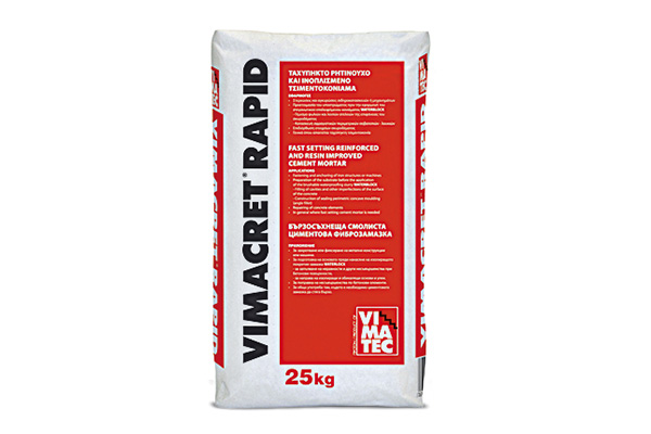 cement- fast setting- fast repairing mortar-fiber reinforced- with resin- dry-mix- vimacret rapid