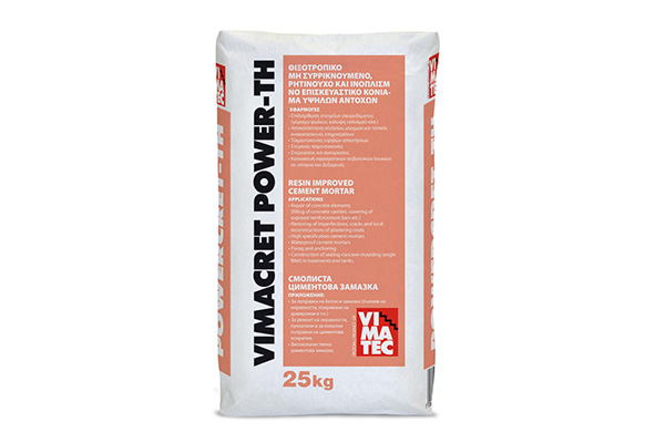 high strength repairing mortar for concrete- for static building elements- reinforcement- thixotropic- non shrinkable- resin improved and fiber reinforced- vimacret power th