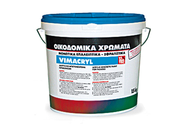 paint for concrete-based on acrylic resins-for facades-for indoor and outdoor use-protective-decorative-for concrete,plaster, bricks and wood-high resistance to weathering and aging-water diluted-vimacryl