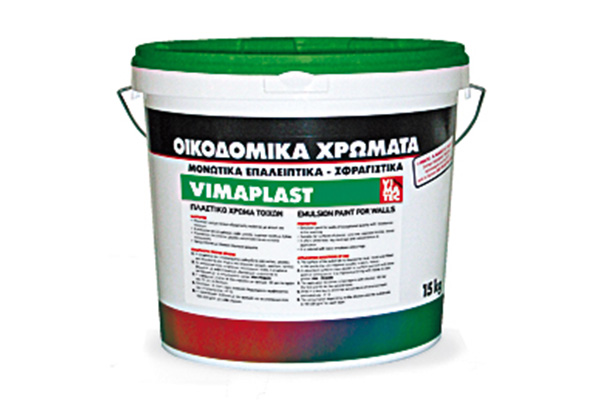 paints-emulsion PVA based professional paint-excellent quality and coverage-for indoor and outdoor use-washing resistance-for plaster concrete bricks and wood-water diluted-vimaplast