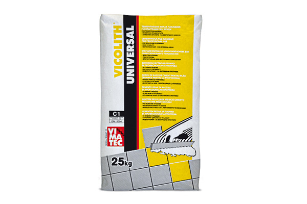 tile adhesive- installation system C1- for indoor use- high bonding strenght-based on white cement-vicolith universal white