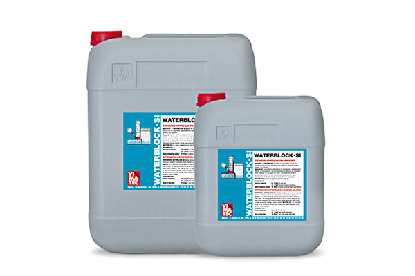 waterproofing material-waterproofing siliceous impregnation dispersion-against moisture-for concrete & brick walls-also application as a primer for waterproofing slurry-barrier of rising damp-Waterblock SI